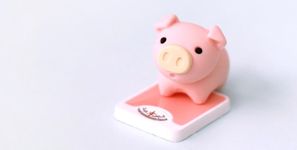 体重計にのる豚のぬいぐるみ